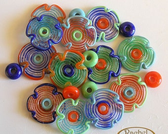Multicolored Lampwork Glass Beads, FREE SHIPPING, Set of Flower Glass Beads - Rachelcartglass
