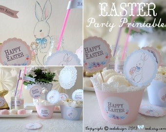 Easter Party Printables PERSONALIZED - Happy Easter or Easter Spring Birthdays