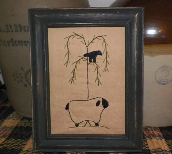 Sheep Wall Art Home Decor ~ Items similar to unframed primitive sheep stitchery rustic