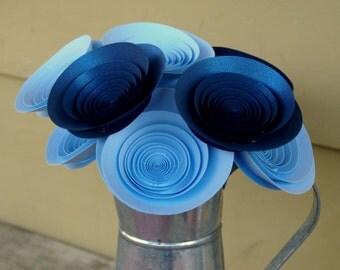 Sky and Sapphire Bouquet; Large Blue Paper Flowers; Modern Paper Flower Gift Arrangement