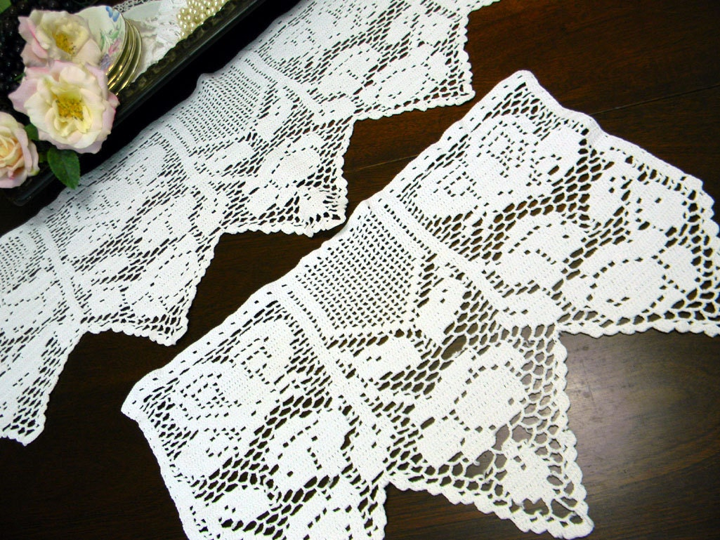 Filet Crochet Armchair Or Sofa Doily Back Piece And One