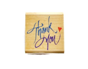 Thank You with Heart  Rubber Stamp by Rubber Stampede