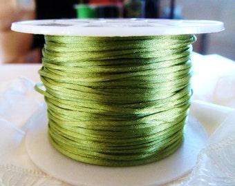 Olive Satin Cord 1mm, Silk Satin, Rattail Cord, Shamballa Cord, Kumihimo Cord, Macrame Cord - 4,5m/5 yards approx.(1 piece)