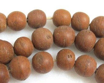 Natural Brown Bodhi seed  beads - 10 beads - NB054