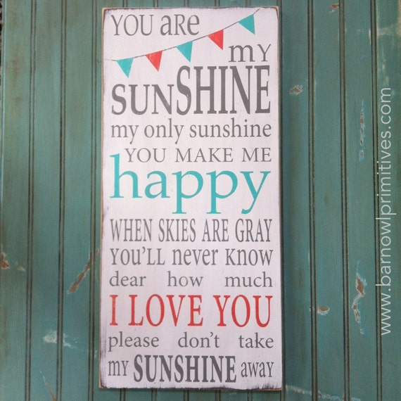 You Are My Sunshine Sign with Bunting Typography Word Art