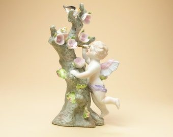 Lefton Cherub Climbing Tree Figurine - Porcelain Figurine