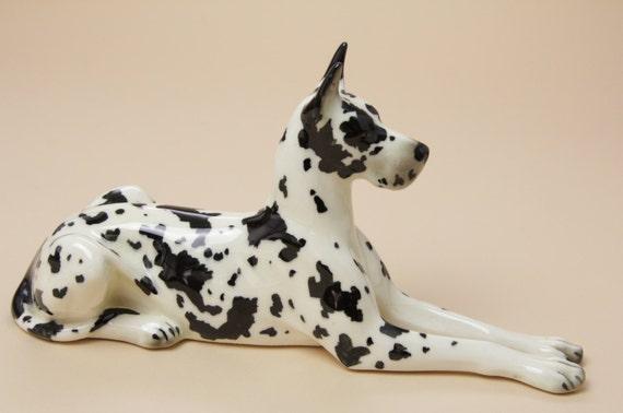 large harlequin great dane dog figurine lunning bone china