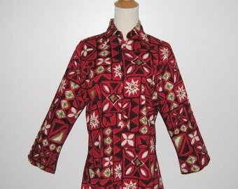 Vintage 1960s Red Hawaiian Floral Abstract Long Sleeve Blouse By Lady Manhattan - Size M, L