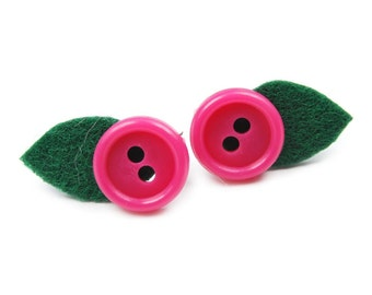 Felt earrings with buttons CHERRY PINK FLOWERS vintage style