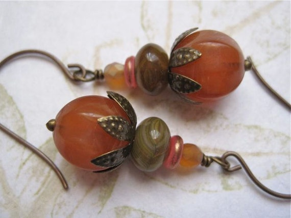 Sun Dried Tomato Antiqued Earrings Czech Glass Vintage Beads Repurposed Orange Brown Green Brass Botnical Style