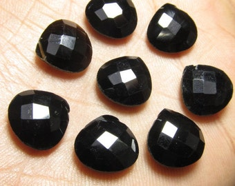 5 Matching Pair 12x12 mm  - AAAA - High Quality Gorgeous Black Onyx  - Faceted Heart Briolett  Drilled