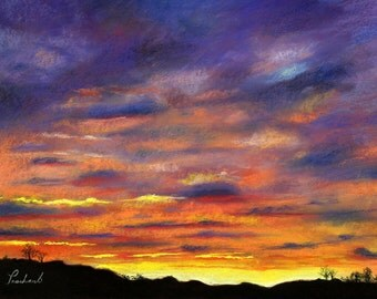"""After the Storm - Sunset Landscape Painting Print - 8""""x10"""" clouds sky evening dusk skyscape"""