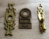 vintage brass assortment - 3 pieces of furniture embellishment - keyhole - mixed media, steampunk projects, altered art (L-5)