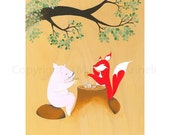 Afternoon Tea - art print featuring a fox and a pig