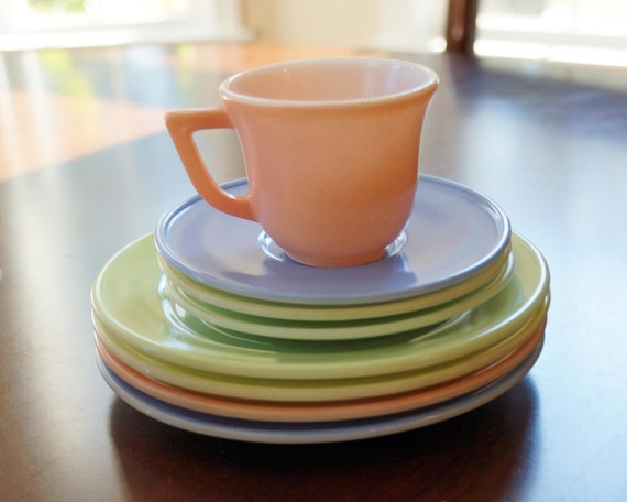 Tea Time, Stack of Vintage Tea cups, plates and saucers