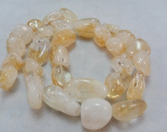 Citrine Nuggets, Gemstone Citrine Beads, Smooth nugget beads,  10x16mm avg, 8 inches about 15 pieces