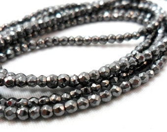 Gemstone Beads, Faceted Black Pyrite Gemstone Spacer Bead,  Rondelle Bead 4 mm 1/2 strand about 50pcs