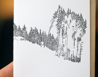 Letterpress Trees Greeting Card