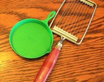 Vintage household kitsch ... TOMATO SLICER & Fuller Brush fry pan ..
