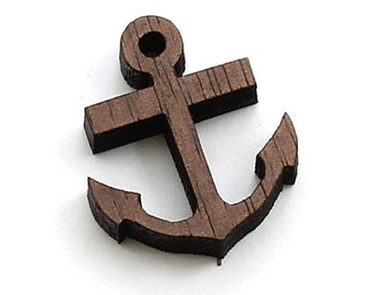 "Anchor Charms - 15 pcs + - 3/4"" Size - Laser Cut Wood - Etsy Itsies by Timber Green Woods - Made in the USA. WALNUT"