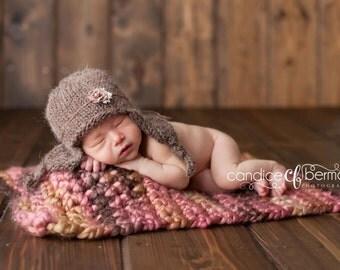 Newborn Photo Prop Blanket Newborn Baby Photography Prop Hand Crochet Super Chunky and Soft