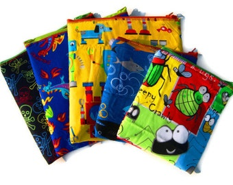 Reusable Sandwich Bags, Eco Friendly Snack Bags, Lunch Bags, SET OF 5, Custom Made to Order