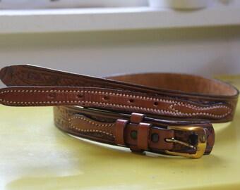 Acorn tooled leather belt