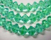 26 7mm Czech Glass Peridot & Aqua Saturn Saucer Beads
