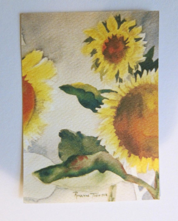 Sunflower II, watercolor print ACEO 359 WatercolorsNmore Art Card 2.5 x 3.5 Fall