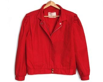 Bomber Style, Primary Red Jacket - Vintage, Spring / Autumn Zip-up Jacket - Small/Medium