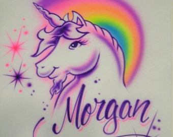 Airbrushed Unicorn with Rainbow & Name T-Shirt Airbrushed Mystical Horse T Shirt