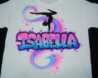 Airbrush Gymnast Personalized w/ Name Shirt Gymnastic Airbrushed T-Shirt