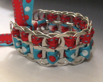 Recycled Soda Pop Can Tab Bracelet Red Blue Ribbon Polka Dots