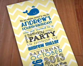 WHALE Birthday Party Printable Invitation
