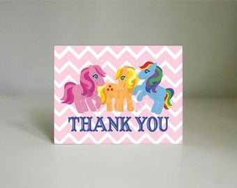 LITTLE PONIES Printable Thank You Card- Instant Download