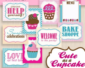 CUPCAKE 8X10 Party Signs in Pink and Teal- Instant Printable Download