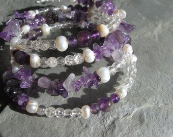lavender amethyst and pearl memory wire bracelet