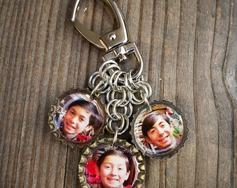 3 Charm Custom Photo Bottle Cap Purse Clip