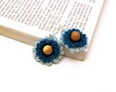 Crochet Earrings / Blue Earrings /  Flower Earrings / Lace Earrings / Made in Israel - FREE Shipping