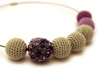 Purple Crochet Necklace / Wooden Necklace / Crochet Beaded Necklace Made in Israel by CasaDeGato