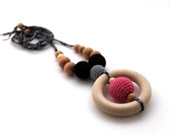 Hot Pink Black Grey Nursing Necklace with Teething Ring / Teething Necklace