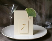 Ginkgo Wedding - Table Numbers - Table Tents, Gingko wedding decoration - Ginkgo Card