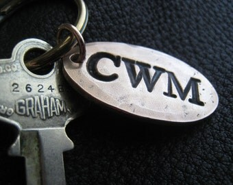 Opulent Oval Personalized Key Chain Keychain in Hammered Solid Bronze Monogrammed