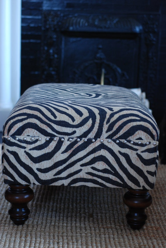 Beautiful Zebra Print Ottoman Cocktail Table With By Fhvintage
