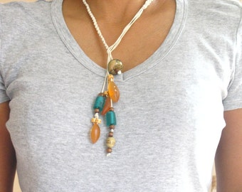 Green necklace , handmade resin lariat , necklace jewelry , bohemian turquoise amber resin wooden bead lariat necklace cotton cord statement