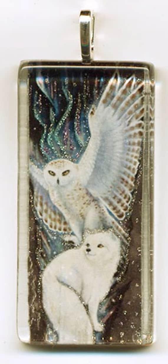 Snowy Owl and Arctic Fox Pendant