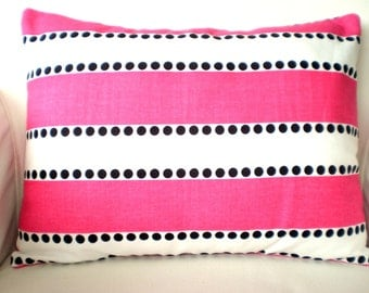 Pink Stripe Pillow Cover, Decorative Throw Pillows, Lumbar Cushion, Hot Pink White Lulu Stripes with Black Dots - One 12 x 16 or 12 x 18