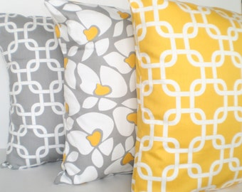 Yellow Gray Pillow Covers, Decorative Throw Pillows, Cushion Covers, Grey Yellow White, Chain Link Gotcha, Helen, Set of Three Various Sizes