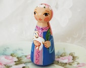 St Agnes with Lamb Catholic Saint Doll - Wooden Toy - Made to Order