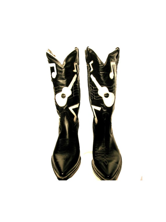 Vintage Leather Inlay Cowboy Boots Mens Black and White Honkey Tonk Musical Note Western Boot  Mns Size 12